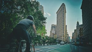 Cycling towards Flatiron on Sunday afternoon