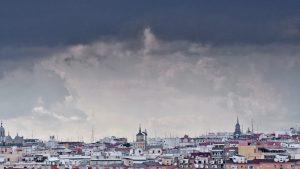 Madrid under stormy clouds