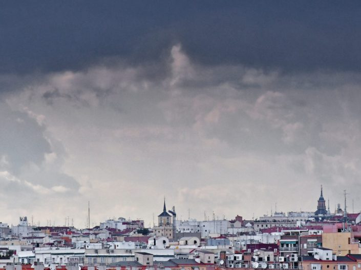 Madrid under stormy clouds
